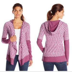 Prana Womens Blue Purple Hooded Cardigan Sweater